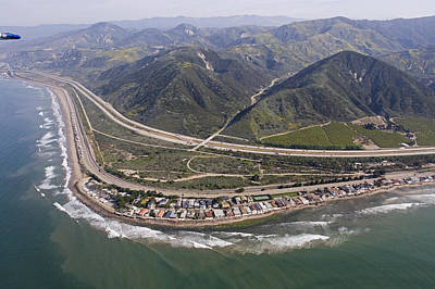 Aerial View Of Highway 1 As It Meets Art Print by Rich Reid