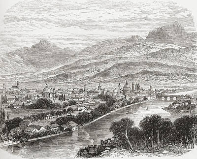 Capital Cities Drawing - Aerial View Of Innsbruck, Tyrol by Vintage Design Pics