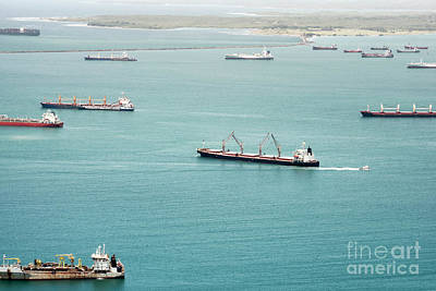 Scenery Photograph - Aerial View Of Large Cargo Ships Waiting At Gatun Lake by Dani Prints and Images