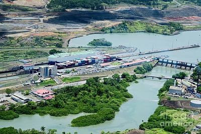 Lake Photograph - Aerial View Of Miraflores Locks. Cargo Ships Passing Through Miraflores Locks At Panama Canal. by Dani Prints and Images