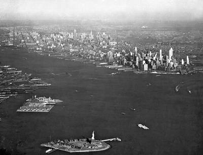 Ellis Island Photograph - Aerial View Of New York City by Underwood Archives