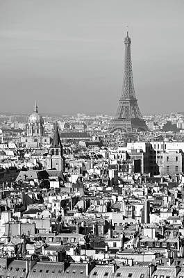 Photograph - Aerial View Of Paris France Rooftops With Les Invalides Dome And Eiffel Tower Black And White by Shawn O'Brien