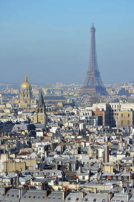 Photograph - Aerial View Of Paris France Rooftops With Les Invalides Dome And Eiffel Tower by Shawn O'Brien