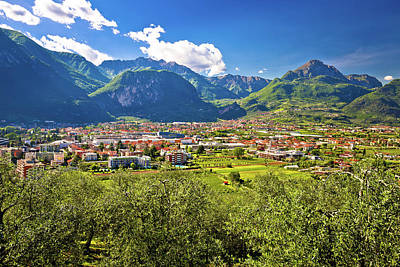 Photograph - Aerial View Of Riva Del Garda And Italian Alps In South Tyrol Re by Brch Photography