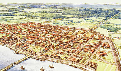 Aerial View Of Roman London Art Print by Pat Nicolle