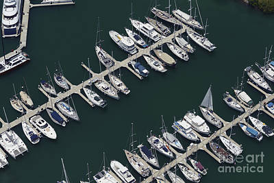 Landscape Photograph - Aerial View Of Sail Boats Docked In A Marina by Dani Prints and Images