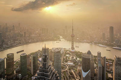 Aerial View Of Shanghai Cityscape  Art Print by Anek Suwannaphoom