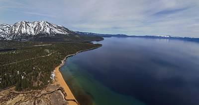 Aerial View Of Ski Beach, Lake Tahoe Art Print by Brad Scott