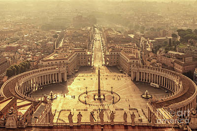 Town Square Wall Art - Photograph - Aerial View Of St Peter's Square by Delphimages Photo Creations
