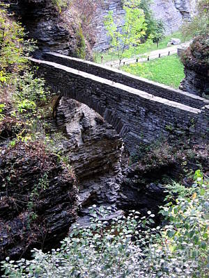 Photograph - Aerial View Of Stone Bridge At Watkins Glen State Park In New York  by Rose Santuci-Sofranko