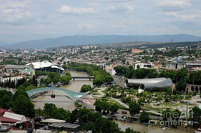 Photograph - Aerial View Of Tbilisi With Peace Bridge Presidential Palace Studio Fuksas Georgia by Imran Ahmed