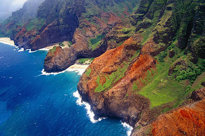 Li Na Photograph - Aerial View Of The Na Pa Li Coast Kauai Hawaii by George Oze