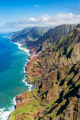 Photograph - Aerial View Of The Napali Coast  by Pierre Leclerc Photography