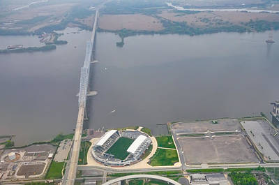 Aerial View Of The Talen Energy Stadium And The Commodore Barry  Art Print