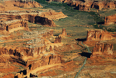 Photograph - Aerial View Of The Three Gossips In Arches National Park by Jean Clark