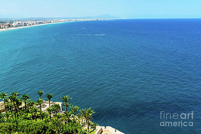Aerial View Over Mediterranean Sea In Spain With Peniscola City In Sight Art Print