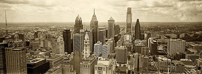Aerial Photograph - Aerial View Philadelphia Skyline Wth City Hall by Jack Paolini