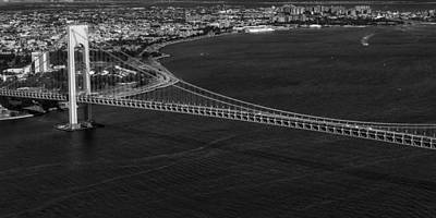 Photograph - Aerial View Verrazano Bridge And Brooklyn Bw by Susan Candelario