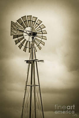 Photograph - Aermotor Windmill In Sepia  by Imagery by Charly