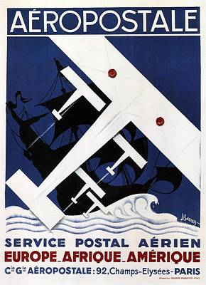 Mixed Media - Aeropostale Service Postal Aerien - Paris Airlines - Retro Travel Poster - Vintage Poster by Studio Grafiikka