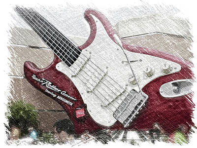 Out Of Frame Mixed Media - Aerosmith Guitar Walt Disney World Pa 01 by Thomas Woolworth