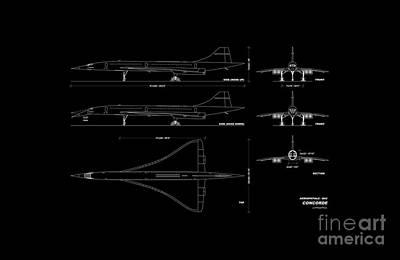 Drawing - Aerospace Bac Concorde by R Muirhead Art