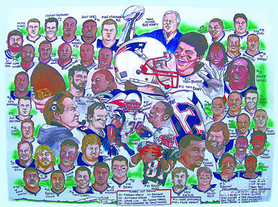 New England Drawing - Afc Champions N.e. Patriots Newspaper Poster by Dave Olsen
