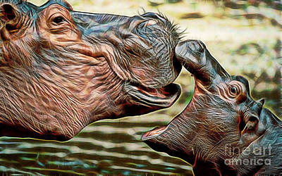 Hippopotamus Mixed Media - Affection by Marvin Blaine