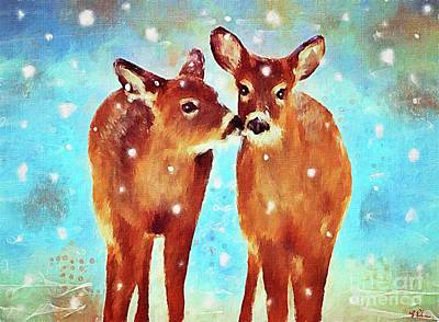 Painting - Affectionate Fawns by Tina LeCour