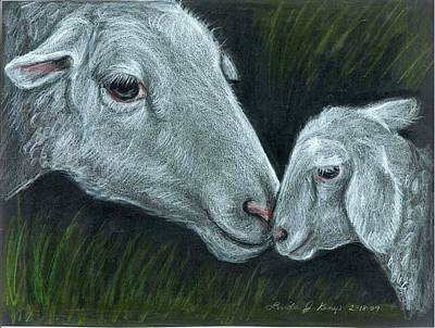 Drawing - Affectionate Nuzzle by Linda Nielsen