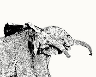 Affectionate Young Elephant Pair Art Print