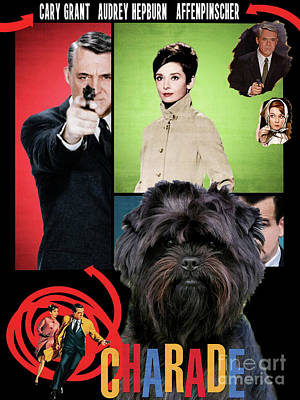 Painting - Affenpinscher Art - Charade Movie Poster by Sandra Sij