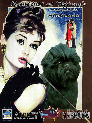 Painting - Affenpinscher - Breakfast At Tiffany Movie Poster by Sandra Sij