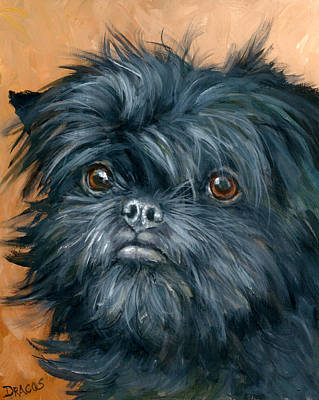 Affenpinscher Portrait Print by Dottie Dracos