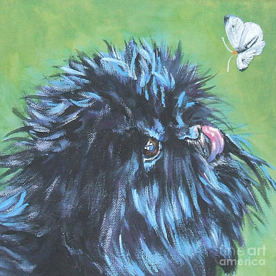 Affenpinscher Painting - Affenpinscher With Butterfly by Lee Ann Shepard