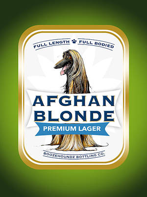 Food And Beverage Drawings - Afghan Blonde Premium Lager by John LaFree