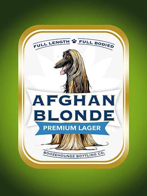 Beer Drawings - Afghan Blonde Premium Lager by John LaFree