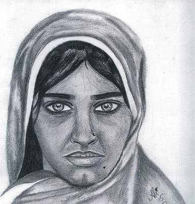 Saba Painting - Afghan Girl by Bobby Dar