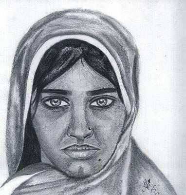 Saba Painting - Afghan Girl by Bobby Dar