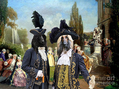 Painting - Afghan Hound Art Canvas Print - The Garden Royal Party by Sandra Sij