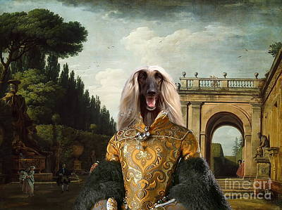 Afghan Hound-the Afternoon Promenade In Rome  Canvas Fine Art Print Art Print