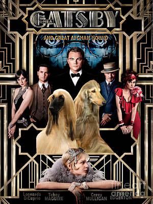 Afghan Hound Painting - Afghan Hound  The Great Gatsby Movie Poster Art by Sandra Sij