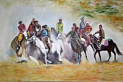 Painting - Afghan Sport, Buzkash by Khalid Saeed
