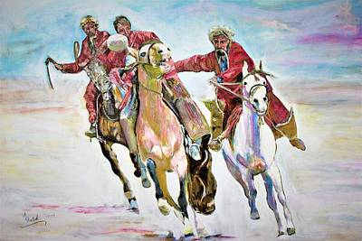 Carcass Painting - Afghan Sport. by Khalid Saeed