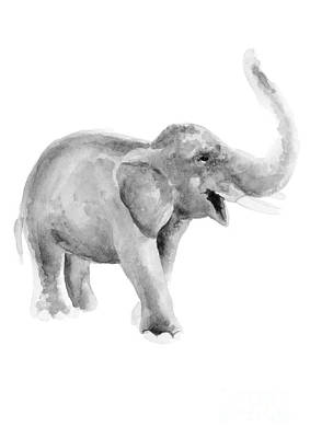 African Gray Painting - Gray Elephant Illustration, Afican Animals Fine Art Print, Nursery Kids Wall Decor by Joanna Szmerdt