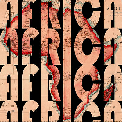 Typography Map Photograph - Africa 1844 by Andrew Fare
