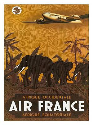 West Africa Digital Art - Africa Air France Elephants Vintage Airline Travel Poster by Retro Graphics