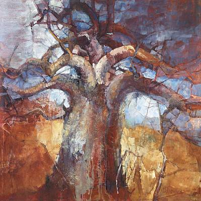 Baobab Painting - Africa Calls by Wendy Rosselli