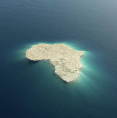 Abstract Map Photograph - Africa Conceptual Island Design by Johan Swanepoel