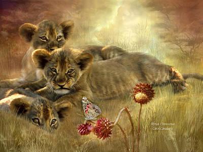 African Lion Art Mixed Media - Africa - Innocence by Carol Cavalaris